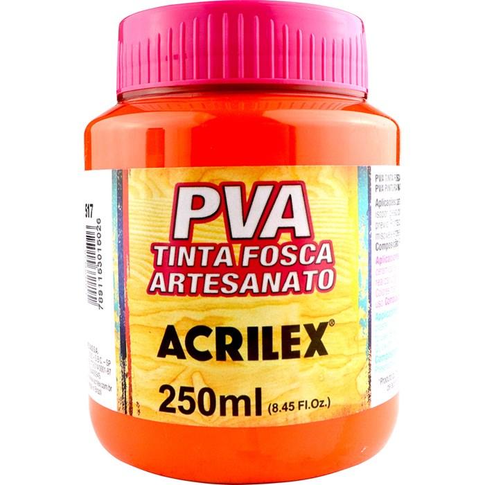 Tinta PVA Fosca para Artesanato Acrilex 250mL Laranja