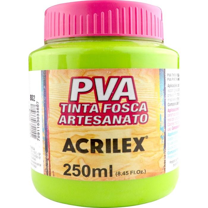 Tinta PVA Fosca para Artesanato Acrilex 250mL Verde Maça