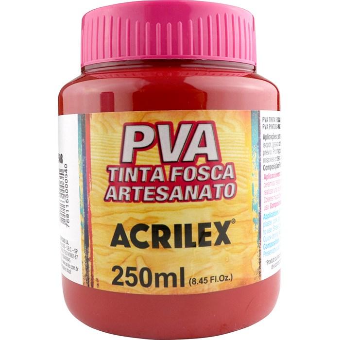 Tinta PVA Fosca para Artesanato Acrilex 250mL Vermelho Escarlate