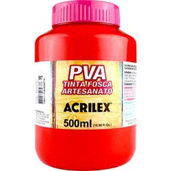 Tinta PVA Fosca para Artesanato Acrilex 500mL - 507 Vermelho Fogo