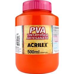 Tinta PVA Fosca para Artesanato Acrilex 500mL - 517 Laranja