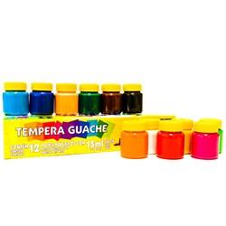 Tinta Tempera Guache Acrilex 15ml cada - caixa com 12 cores 02012
