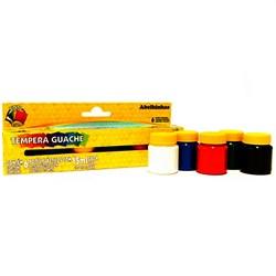 Tinta Tempera Guache Acrilex 15ml cada - caixa com 6 cores - 02006