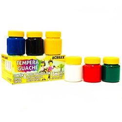 Tinta Tempera Guache Acrilex 15ml cada - caixa com 6 cores 02020