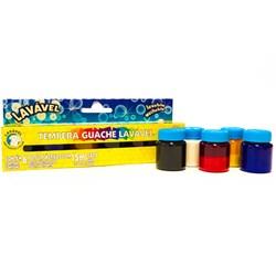 Tinta Tempera Guache Acrilex LAVÁVEL 15ml cada - caixa com 6 cores - 02106