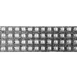Tira Siliconada TL-001 Strass Cristal/Chaton Branco 39cm- 5cm