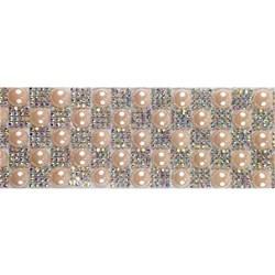 Tira Siliconada TL-009 Strass Irisado/Pérola Perolada 39cm - 4cm