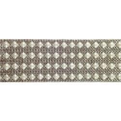 Tira Siliconada TL-010 Strass Cristal/Pérola Branca 39cm- 5cm