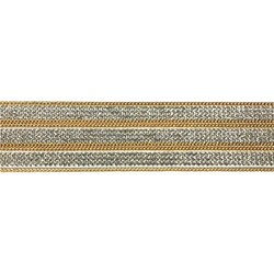 Tira Siliconada TL-015 Strass Cristal/Corrente Dourada 39cm- 3cm