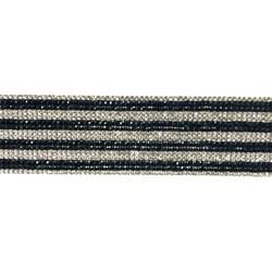 Tira Siliconada TL-016 Strass Cristal/Strass Preto 39cm- 4cm