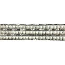 Tira Siliconada TL-018 Strass Cristal/Pérola Branca 38cm- 3,5cm