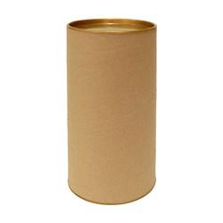 Tubo Lata em Papelão 20x10cm Tampa Plástica Dourada