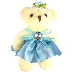 Ursinho de Pelúcia com Vestido Azul Bebê PEL025